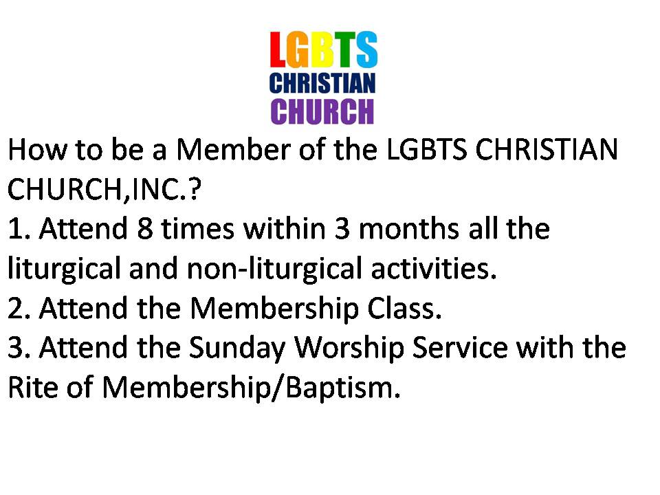 How To Be A Member of the LGBTS CHRISTIAN CHURCH INC.?